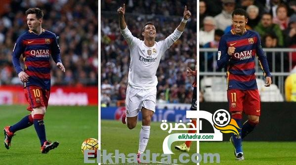الفيفا يختار ميسي ونيمار وكريستيانو رونالدو للتنافس على الكرة الذهبية لعام 2015 42