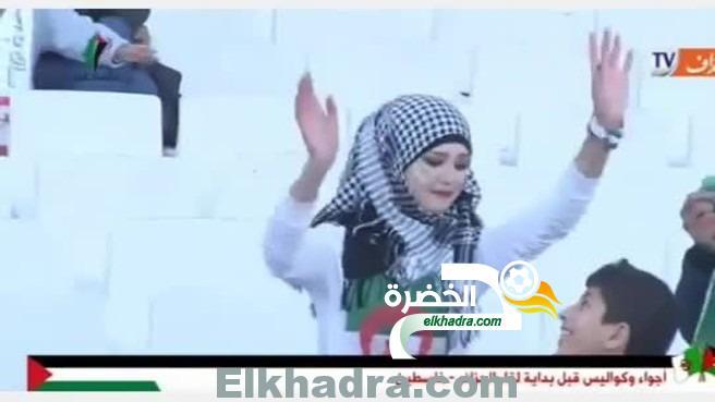 اجمل مشجعة ترقص في مباراة الجزائر وفلسطيـ ــن 1