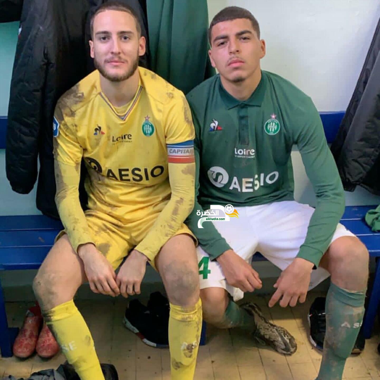 المدافع الجزائري جوردان حلايمية هداف مع فريق سانت إتيان 24