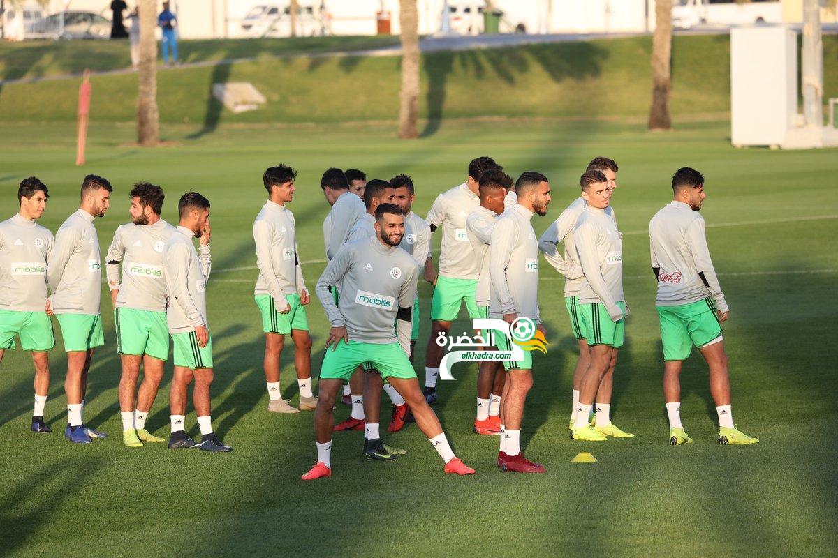 بالصور .. الخضر يواصلون تحضيراتهم للمباراة الودية أمام المنتخب القطري 30
