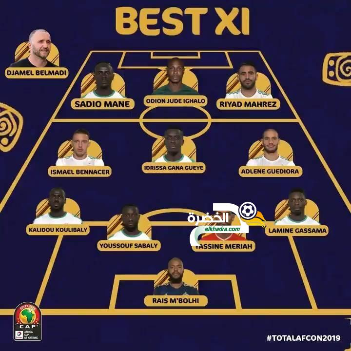 بلماضي و 4 لاعبين جزائريين في التشكيلة المثالية لكاس امم افريقيا 2019 18
