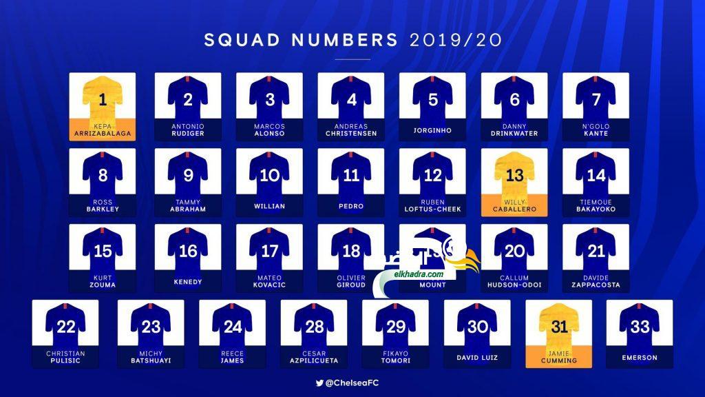 أرقام و قائمة لاعبي تشلسي للموسم الجديد 2019/20 25