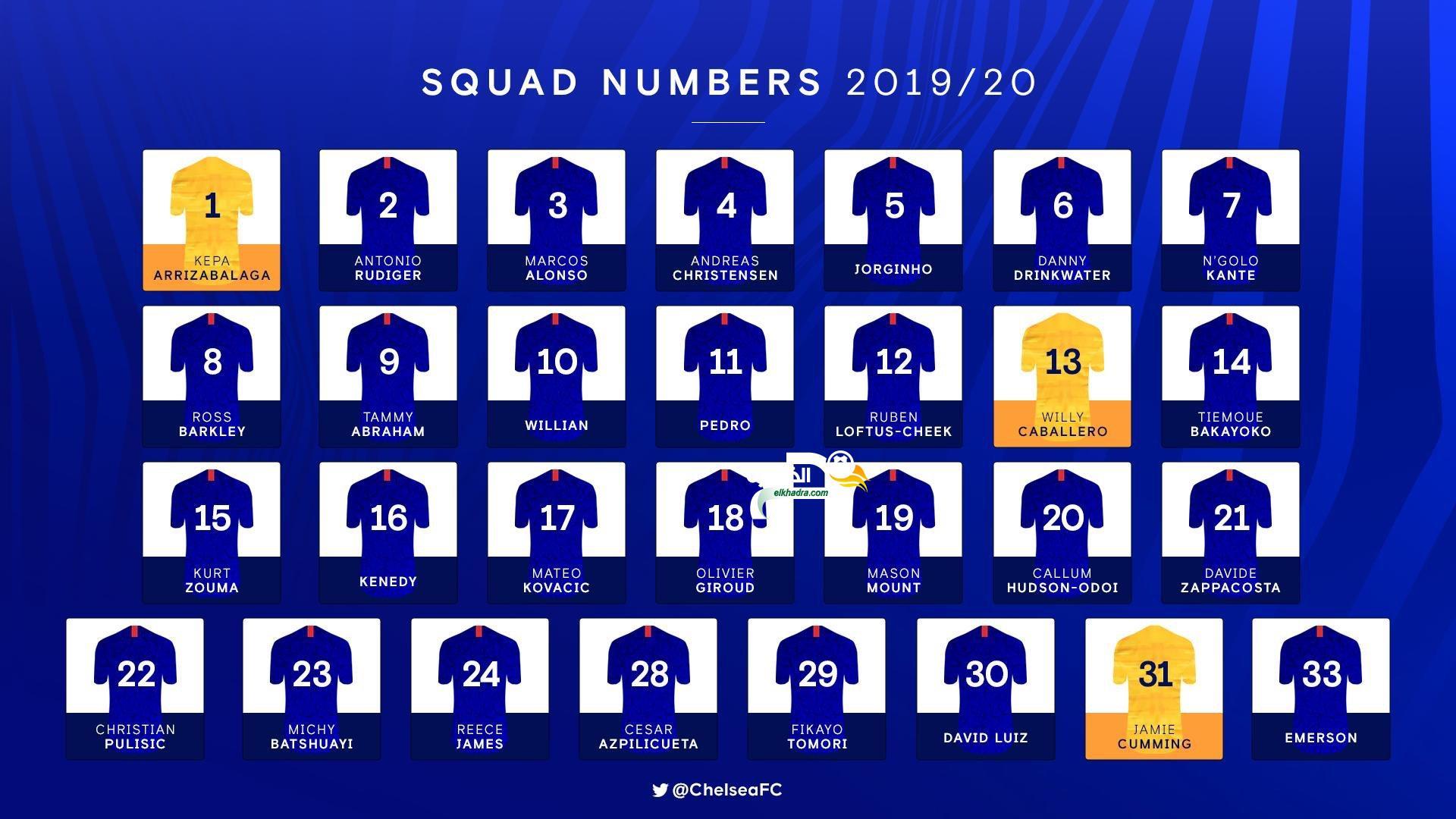 أرقام و قائمة لاعبي تشلسي للموسم الجديد 2019/20 28