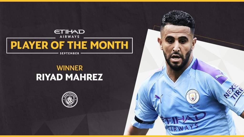 رياض محرز يتوج بجائزة أفضل لاعب في مانشستر سيتي شهر سبتمبر 25