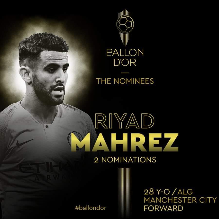رياض محرز ضمن المرشحين للتتويج بجائزة الكرة الذهبية 21