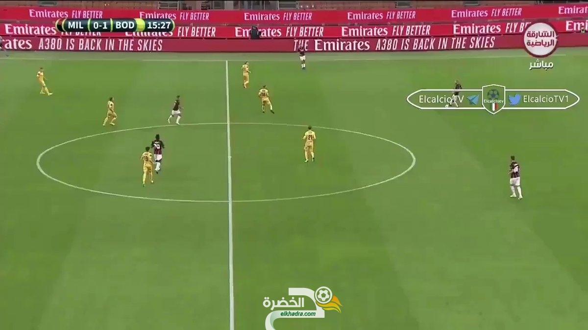 اسيست بن ناصر في هدف تعادل ميلان باليوروباليغ. 35
