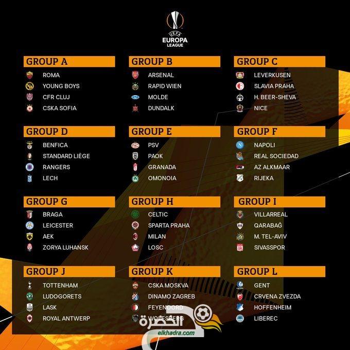 بمشاركة 7 جزائريين .. تعرف على قرعة دور المجموعات لبطولة الدوري الأوروبي 24