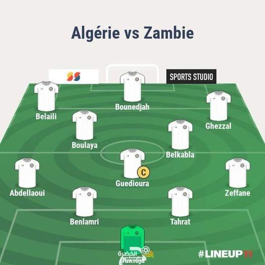 التشكيلة المحتملة للمنتخب الوطني الجزائري لمواجهة منتخب زامبيا اليوم 23