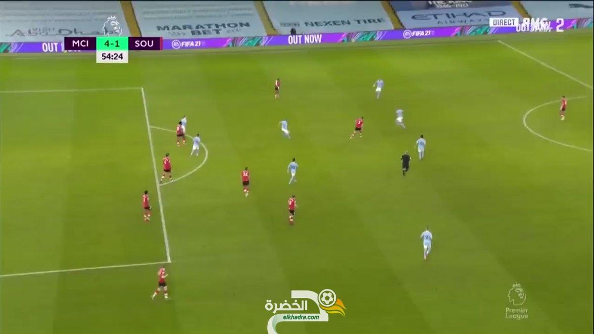 شاهد هدف رياض محرز الثاني له في اللقاء مانشستر سيتي ضد ساوثهامبتون اليوم 3