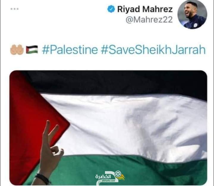 بالصور .. لاعبو المنتخب الجزائري يعلنون مساندتهم لفلسطين 7
