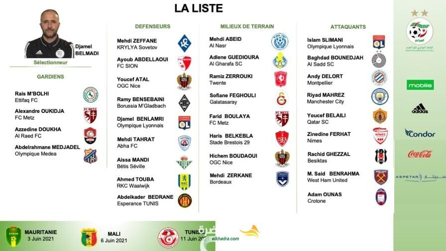 بلماضي يفرج عن قائمة المنتخب الجزائري لتربص جوان 1